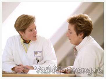 Foto endokrinolog i pacijenta